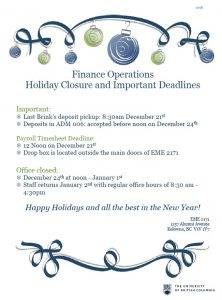 2018 Holiday Closure and Important Deadlines